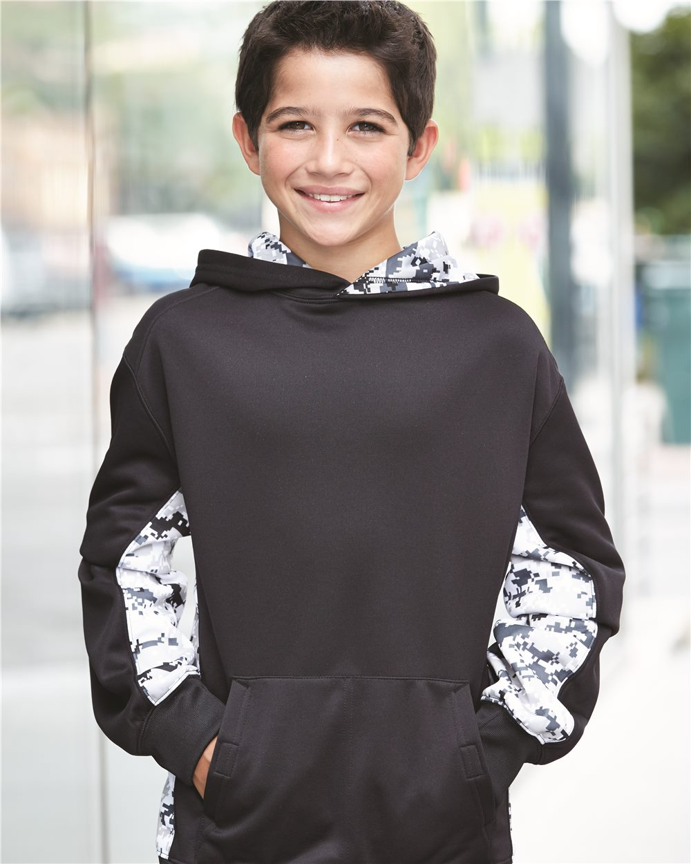 Badger 2464 - Digital Camo Youth Colorblock Performance Fleece Hooded Sweatshirt