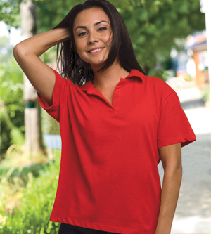 Bayside 1050 Ladies' USA-Made V-Neck Polo
