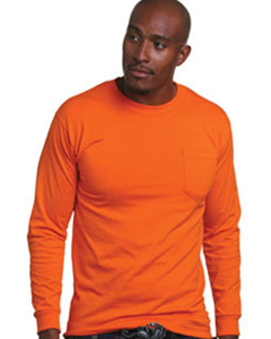Bayside 1730 50/50 Long Sleeve T-Shirt with a Pocket