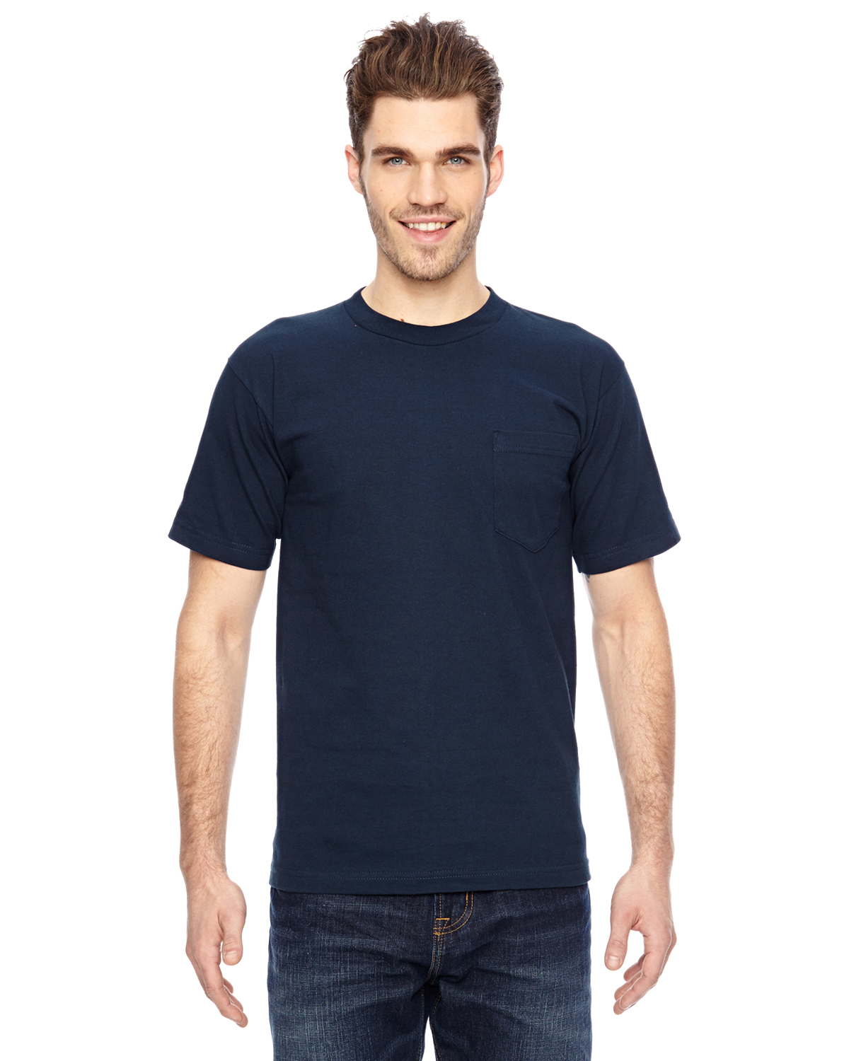 Bayside 7100 Short Sleeve T-Shirt with a Pocket