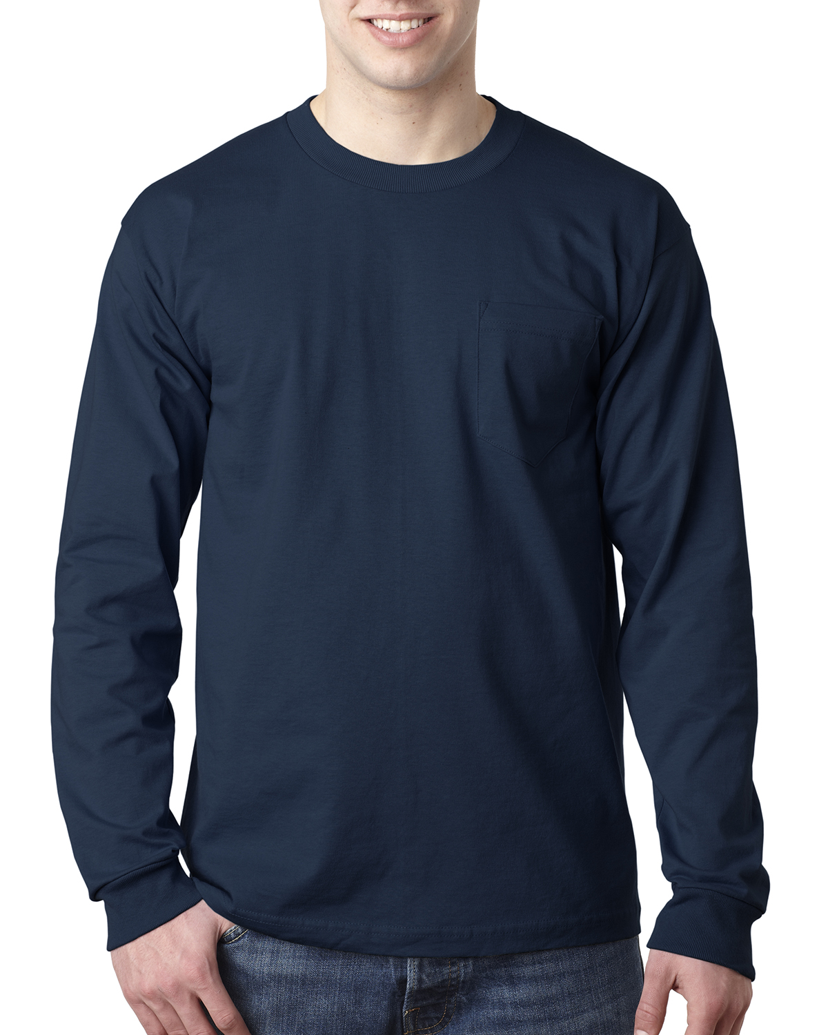 Bayside 8100 Long Sleeve T-Shirt with a Pocket