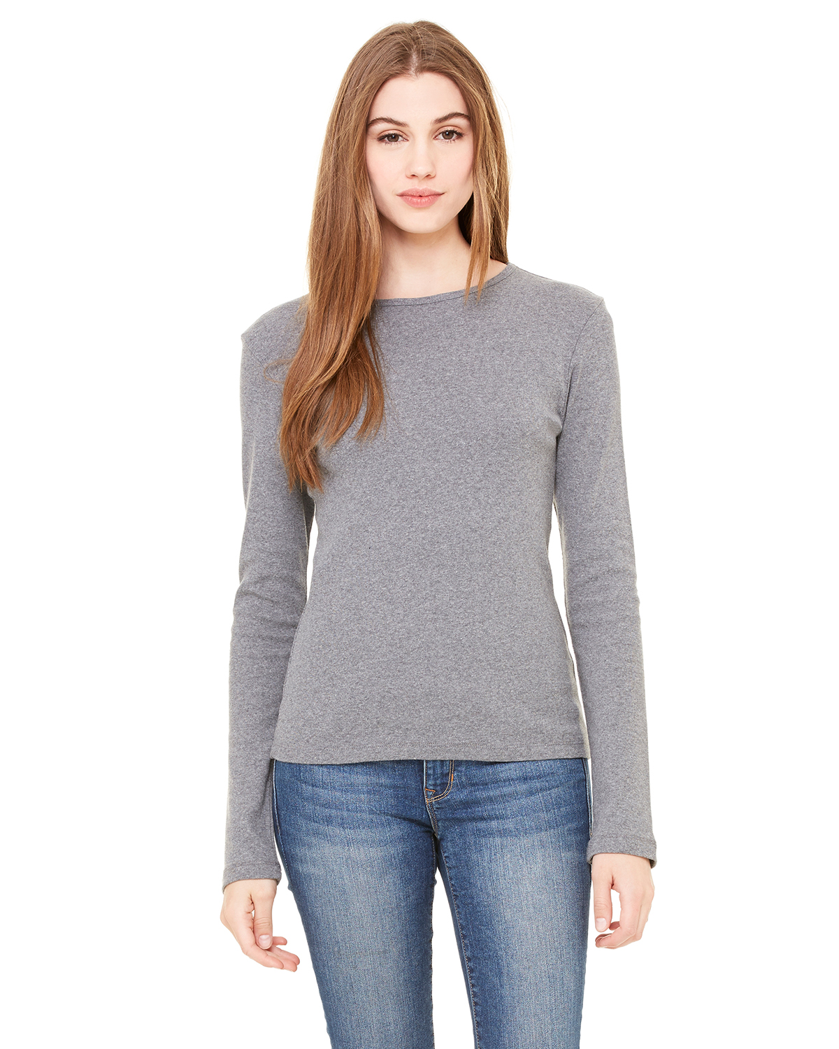 bella 5001 Ladies' 1x1 Rib Long Sleeve T-Shirt