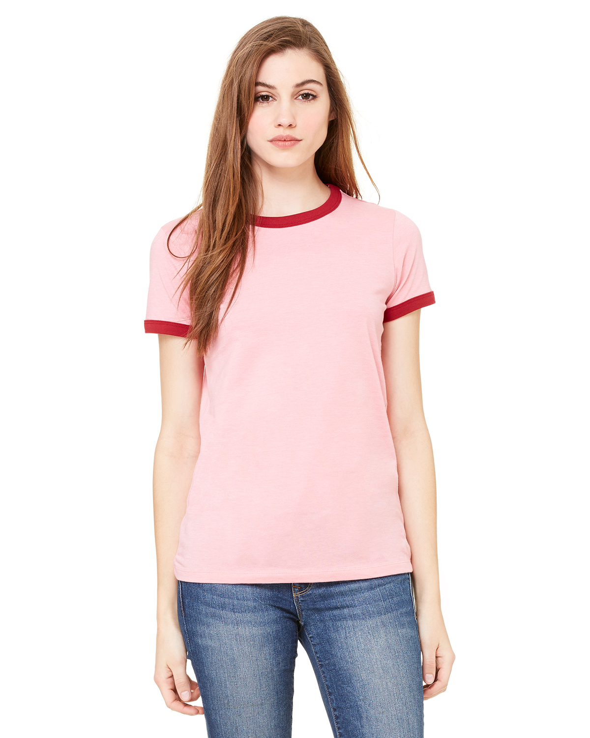 bella 6050 Ladies' Short Sleeve Heather Ringer T-Shirt