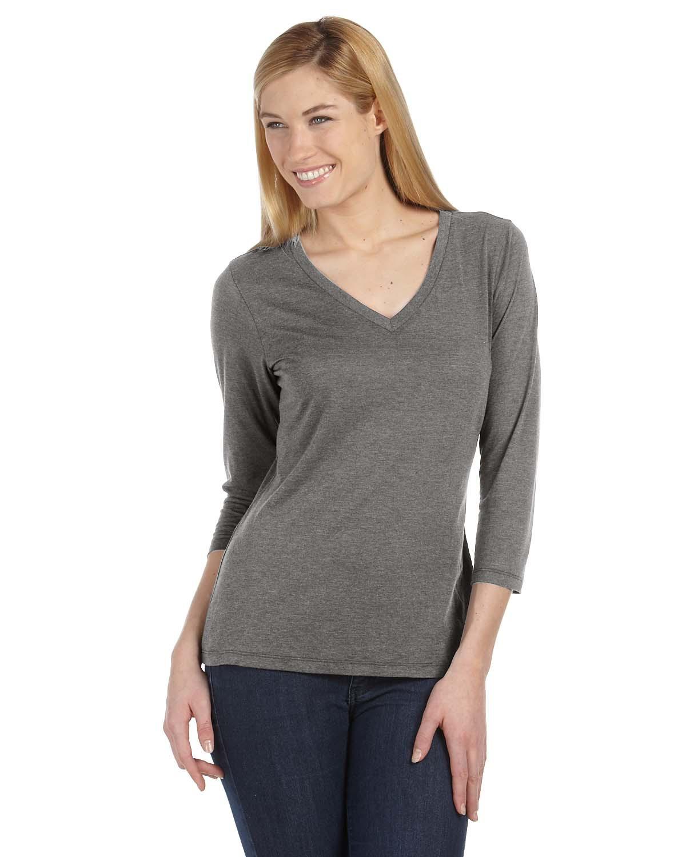 Bella 6425 Ladies 4.2 oz. Missy 3/4-Sleeve V-Neck T-Shirt