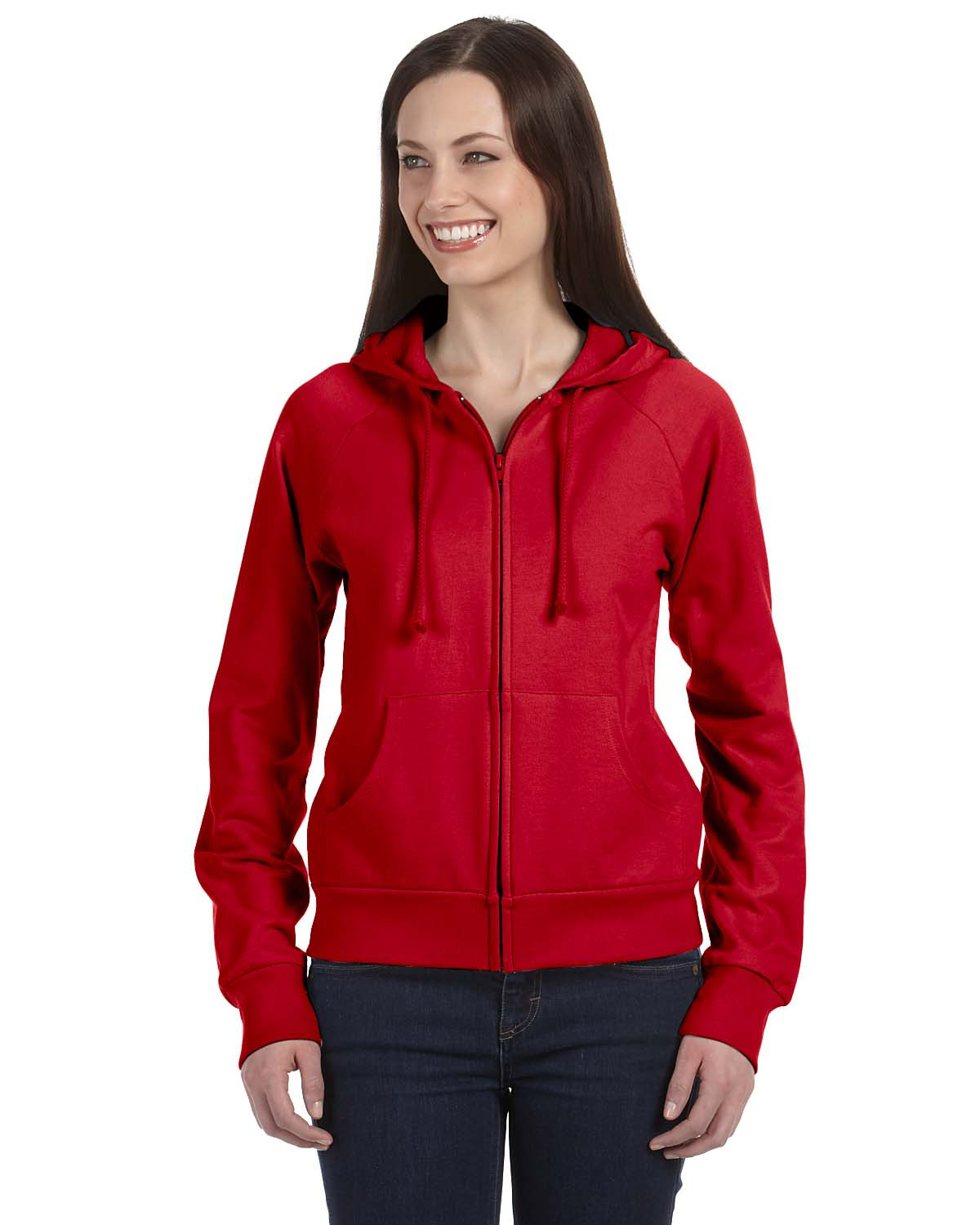 bella 7007 Ladies' Raglan Full-Zip Hooded Sweatshirt
