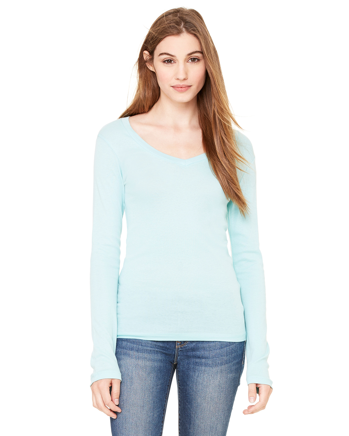 Bella 8750 Ladies' Andrea Long Sleeve Sheer Rib Longer Length V-Neck T-Shirt