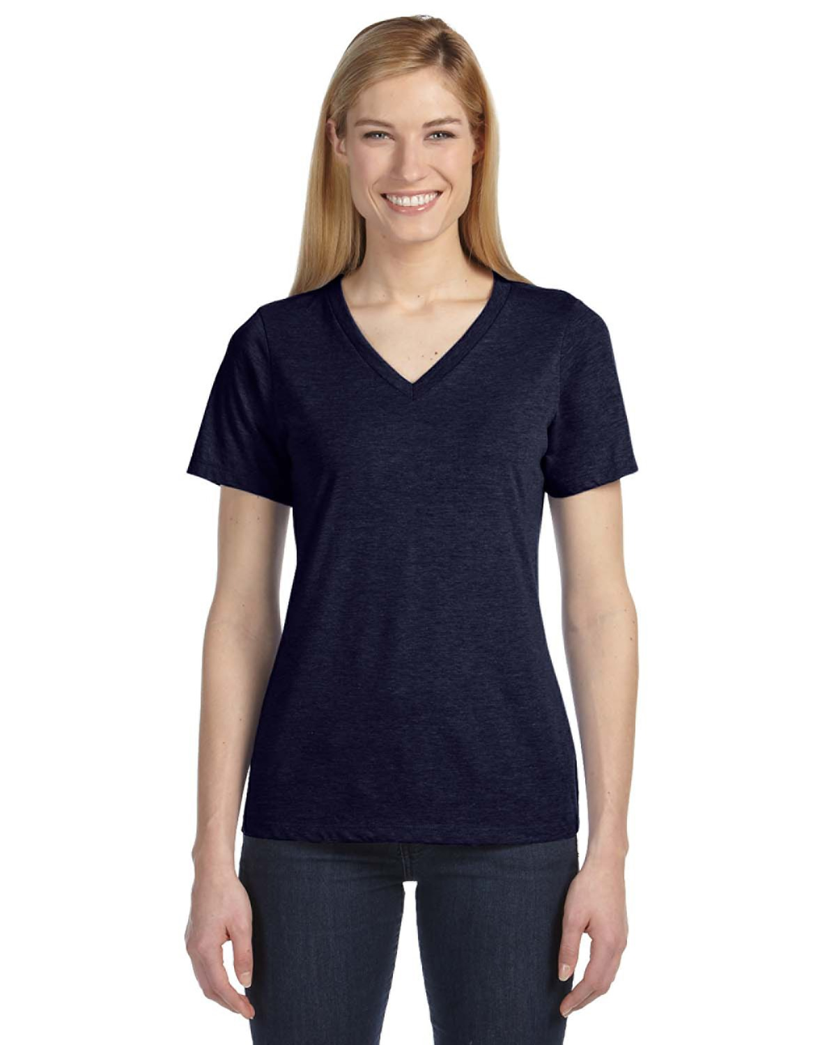 Bella + Canvas - 6405U Missy Made in the USA Jersey Short-Sleeve V-Neck T-Shirt