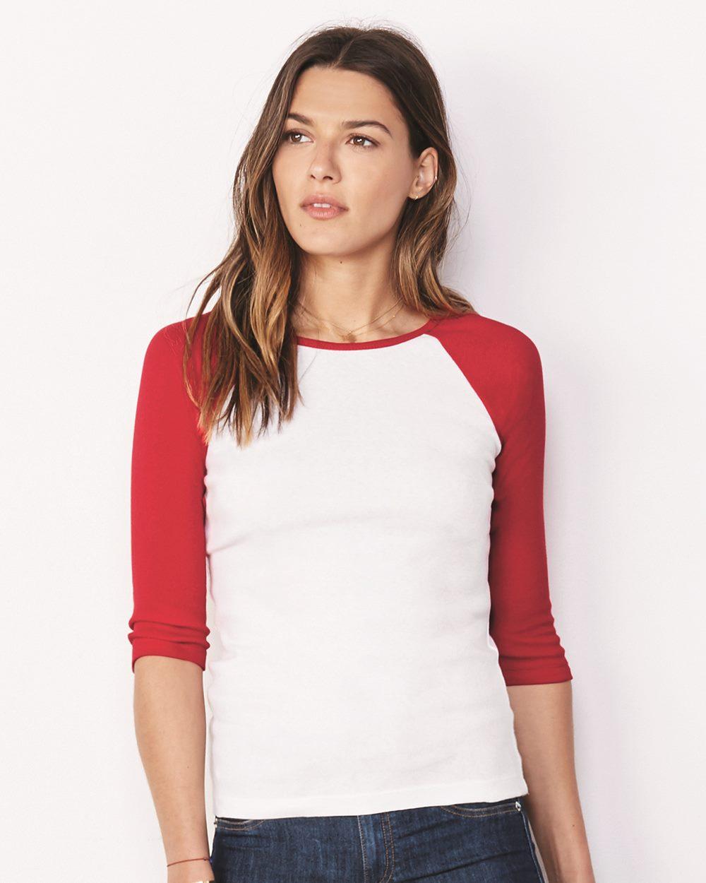 Bella BB2000  Women's Baby Rib Contrast 3/4 Sleeve Raglan T-Shirt