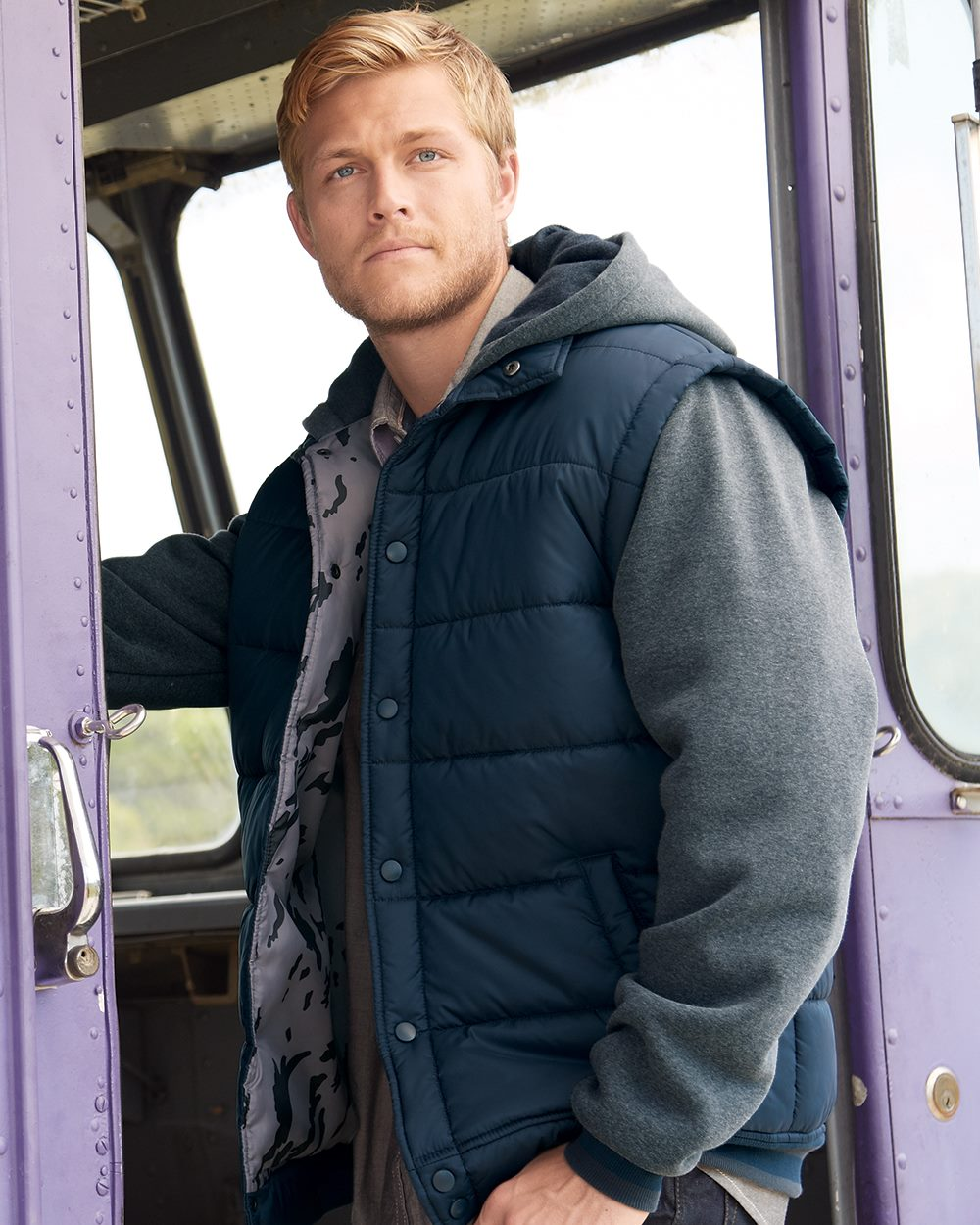 Burnside B8701 - Nylon Vest with Fleece Sleeves