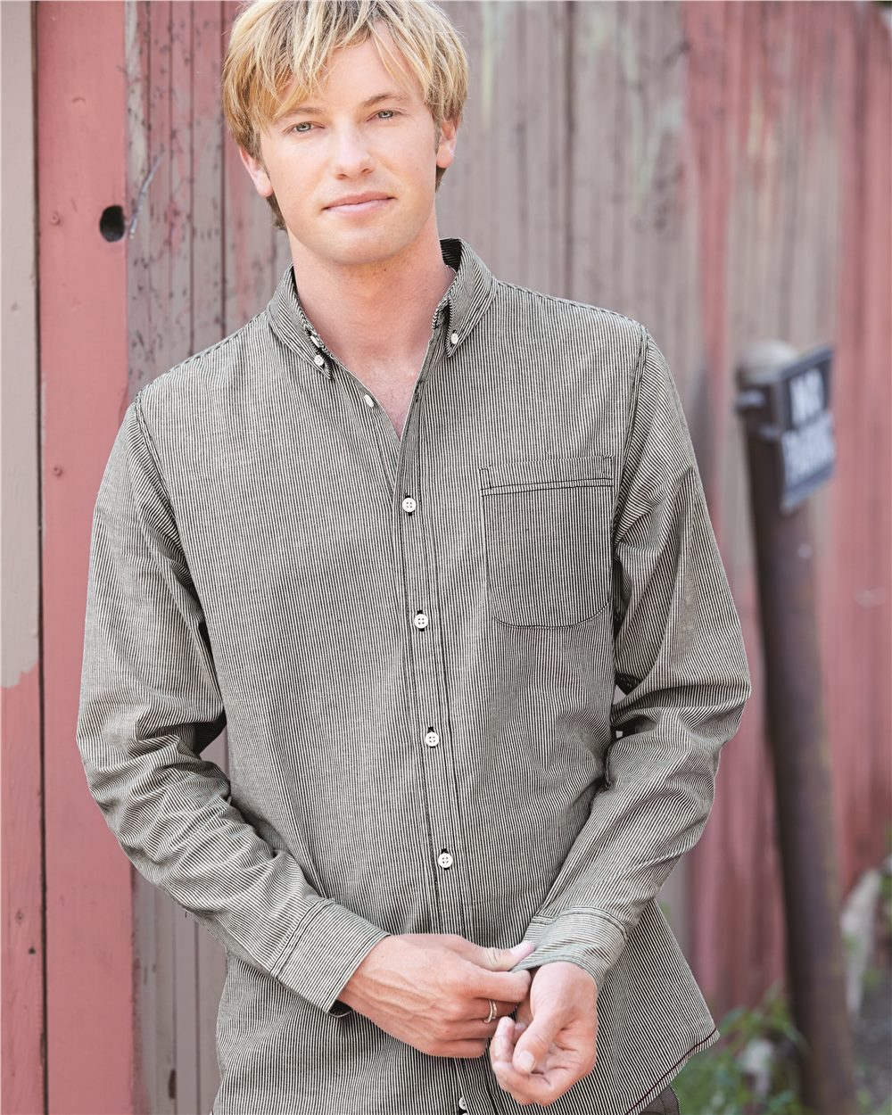 Burnside Stretch-Stripe Long Sleeve Shirt - B8259