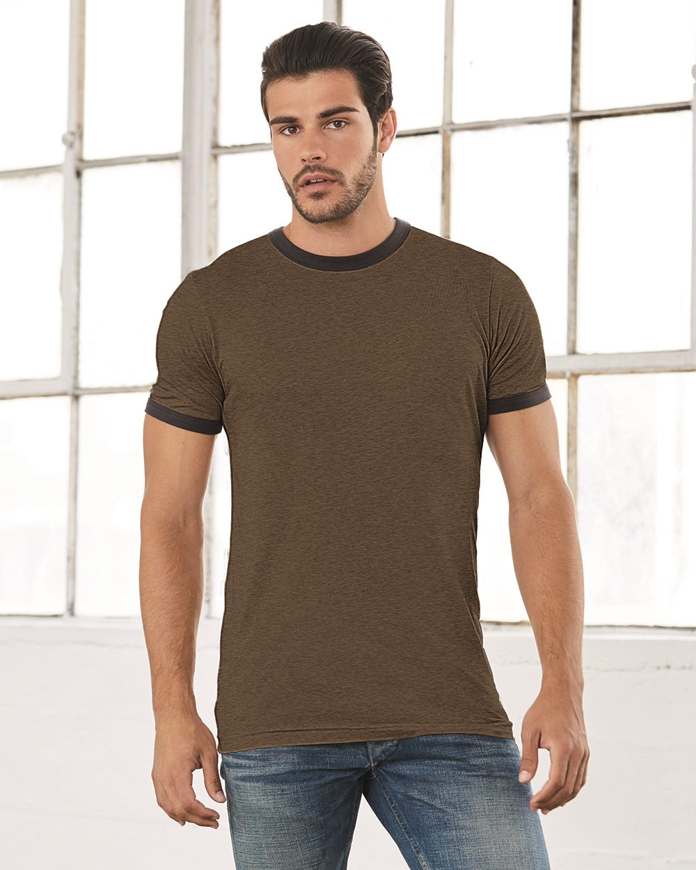 Canvas 3055 Robertson Heather Ringer T-Shirt
