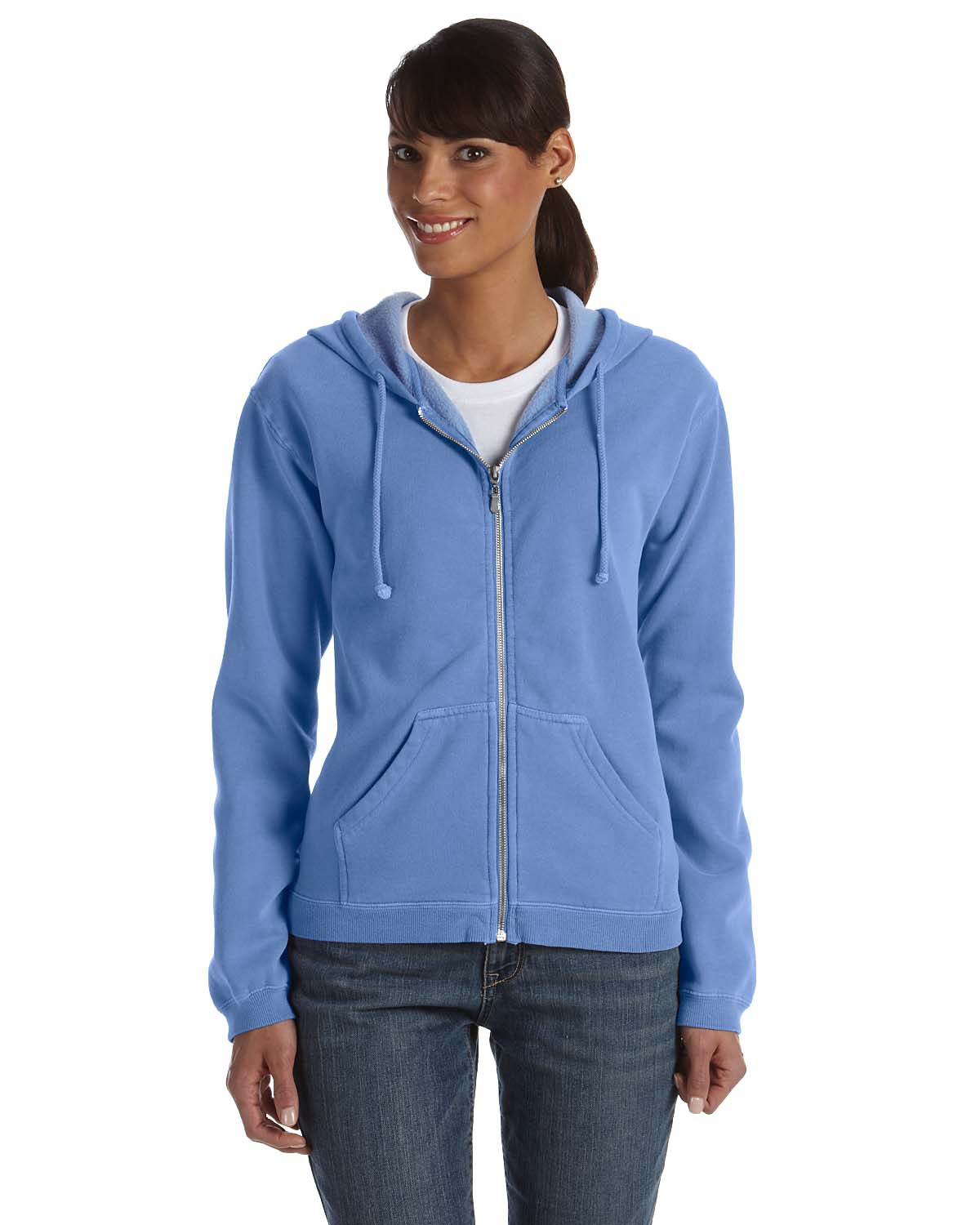 Comfort Colors 1598 Pigment-Dyed Ladies' Full-Zip Hooded Sweatshirt