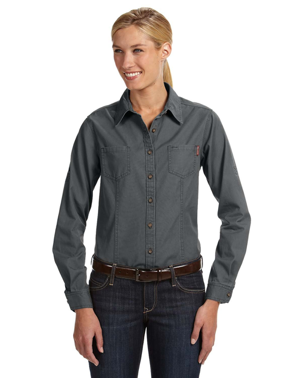 DRI DUCK 8284 Sawtooth Collection Ladies' Mortar Long Sleeve Shirt