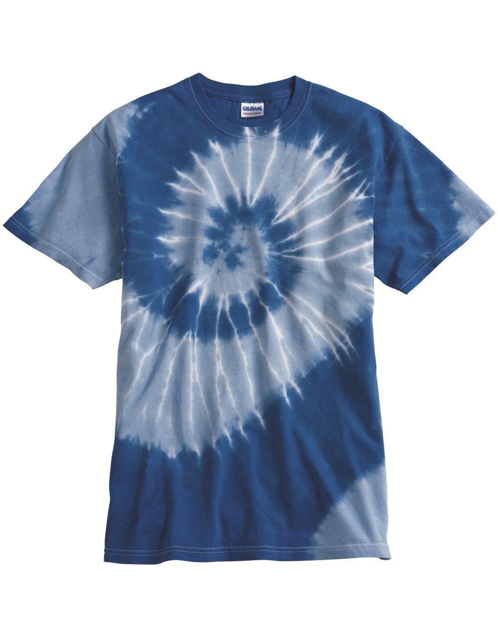 Dyenomite 20021 同种颜色不同色度的螺旋花纹T恤