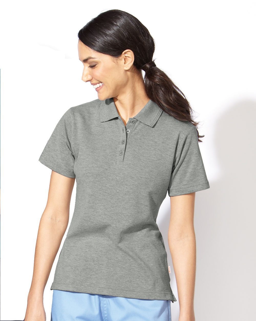 FeatherLite 5330 Ladies' Short Sleeve Platinum Pique ...