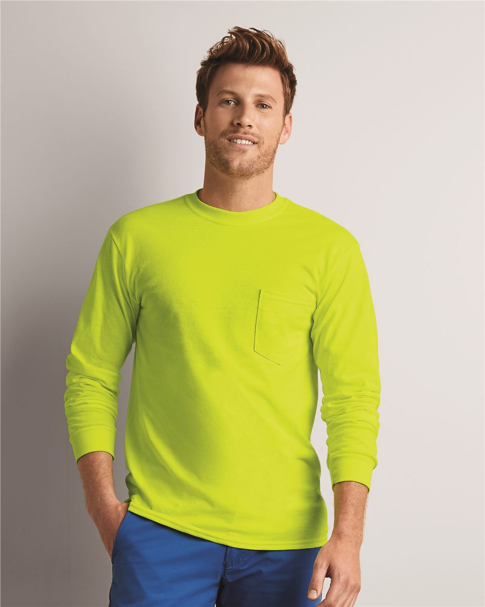 Gildan 2410 Ultra Cotton Long Sleeve T-Shirt with a Pocket