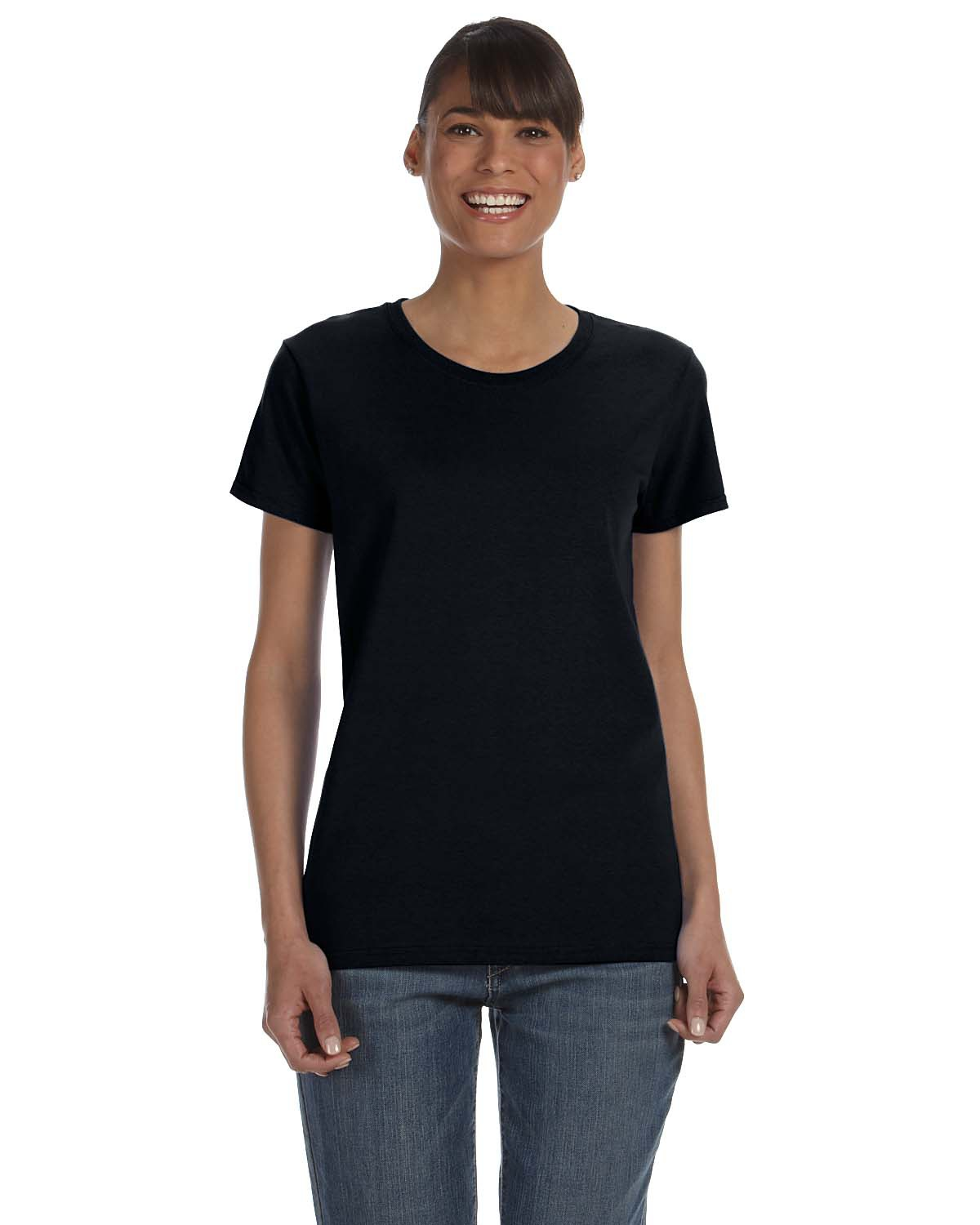 Gildan 5000l missy fit heavy cotton short sleeve t shirt Womens black tee shirt