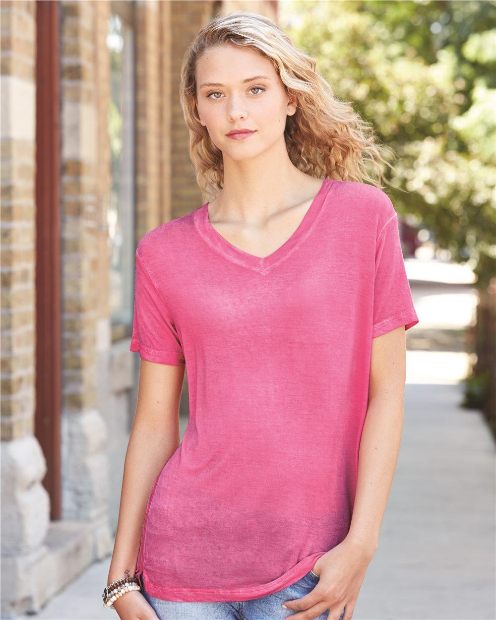 J. America 8132 - Women's Oasis Wash V Neck Tee Shirt
