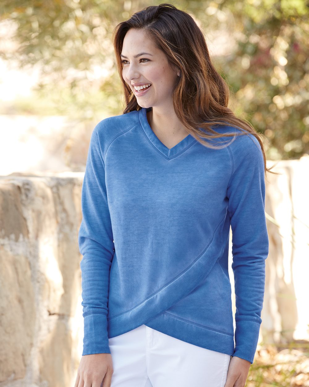 J. America 8666 - Women's Oasis Wash French Terry Criss Cross V Neck Sweatshirt