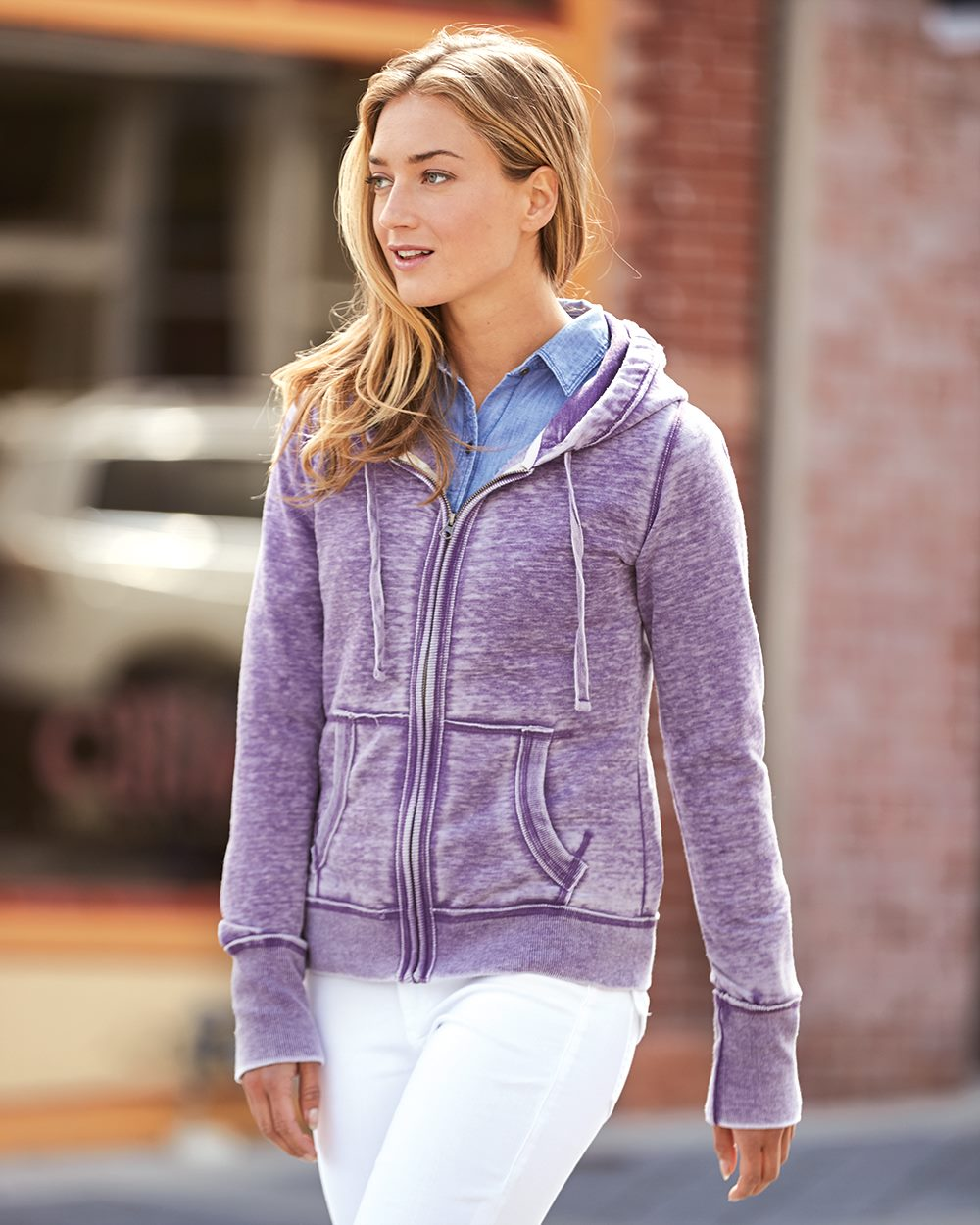 J. America 8913-Ladies Vanity Zen Fleece Full-Zip Hooded ...