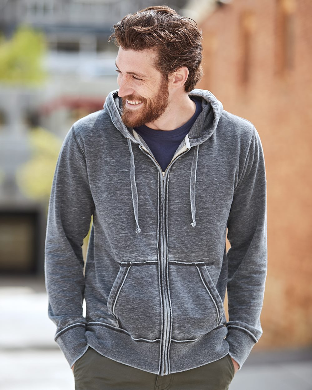 J. America 8916-Vintage Zen Fleece Full-Zip Hooded Sweatshirt