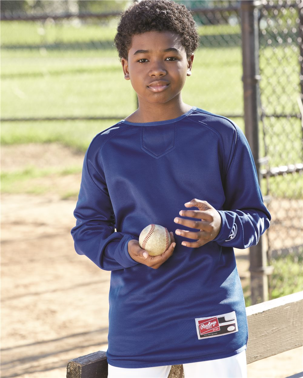 Rawlings 6705-Youth Long Sleeve Flatback Mesh Fleece Pullover