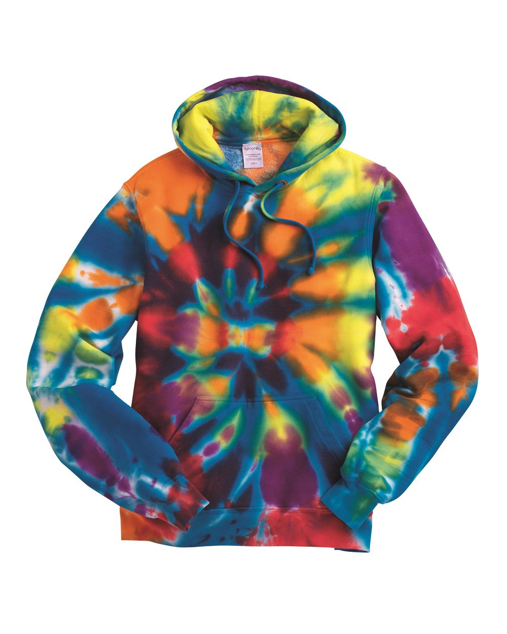 Tie-Dyed 854TD-Rainbow Multi-Color Cut-Spiral Hooded Sweatshirt