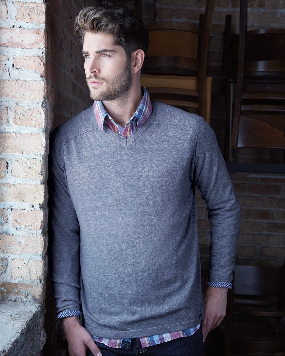 Weatherproof 151388 - Vintage Denim V Neck Cotton Sweater