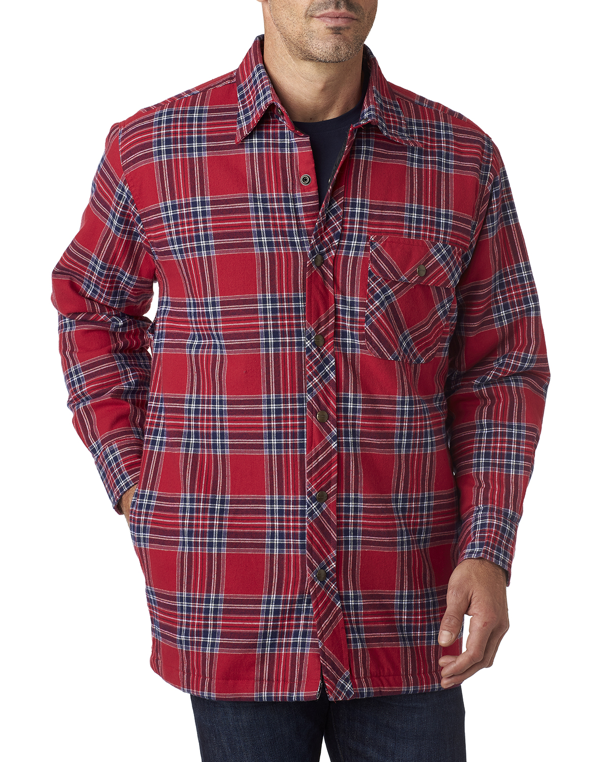 Backpacker BP7002 - Men's Flannel Shirt Jacket with Quilt Lining ... : quilted flannel shirts - Adamdwight.com