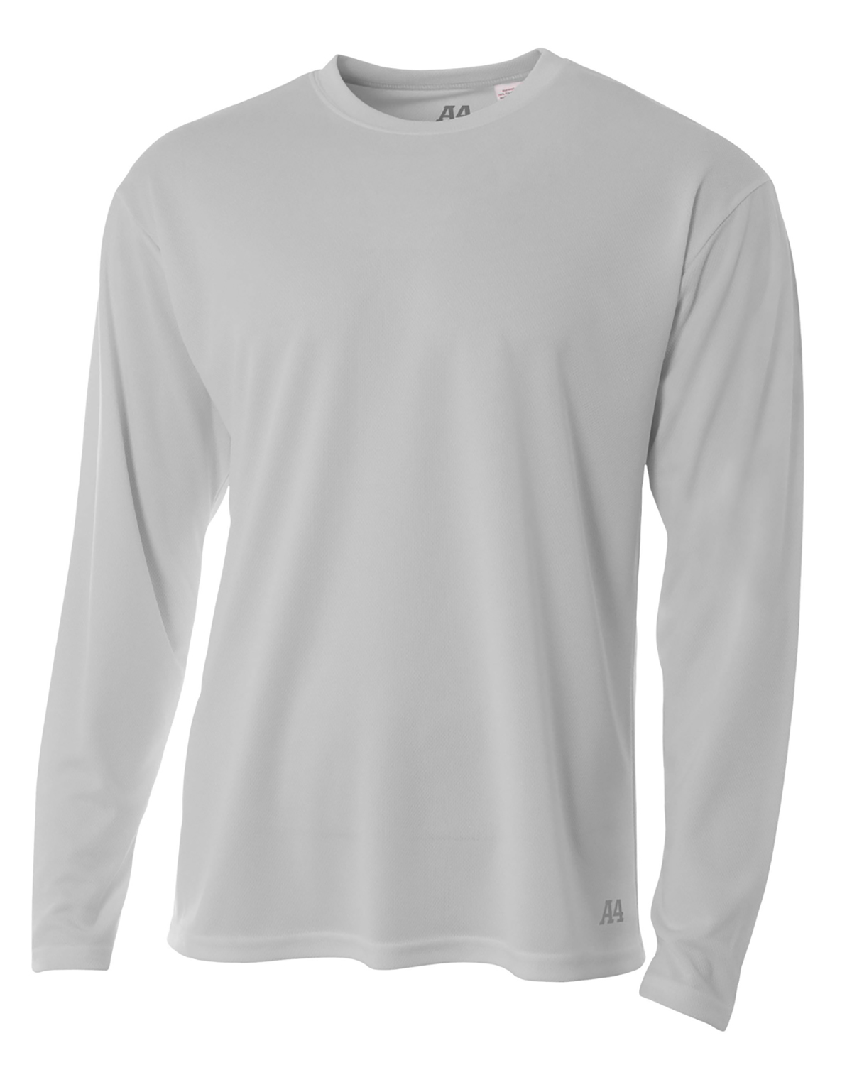 A4 Drop Ship N3253 - Men's Long Sleeve Crew Birds Eye Mesh T-Shirt