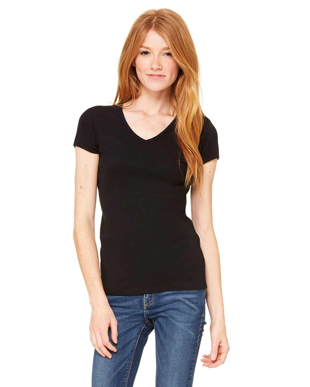 Bella + Canvas 1005 - Women's Baby Rib V-Neck Tee