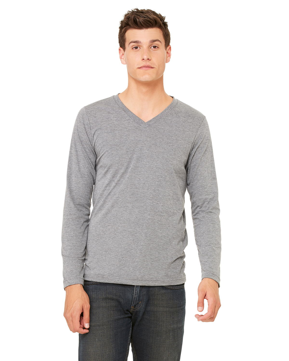 Bella 3425 -  Men's Tri-Blend Long-Sleeve V-Neck Tee