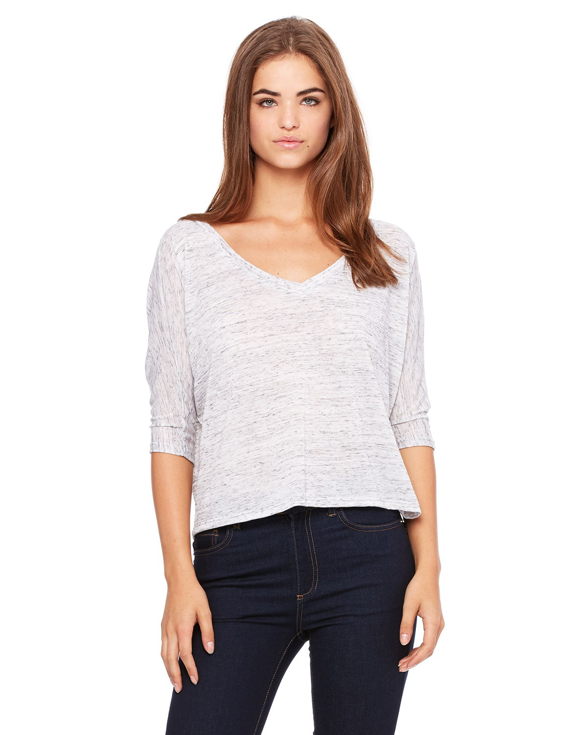 Bella 8825 Ladies 3.7 oz. Flowy Boxy Half-Sleeve V-Neck ...