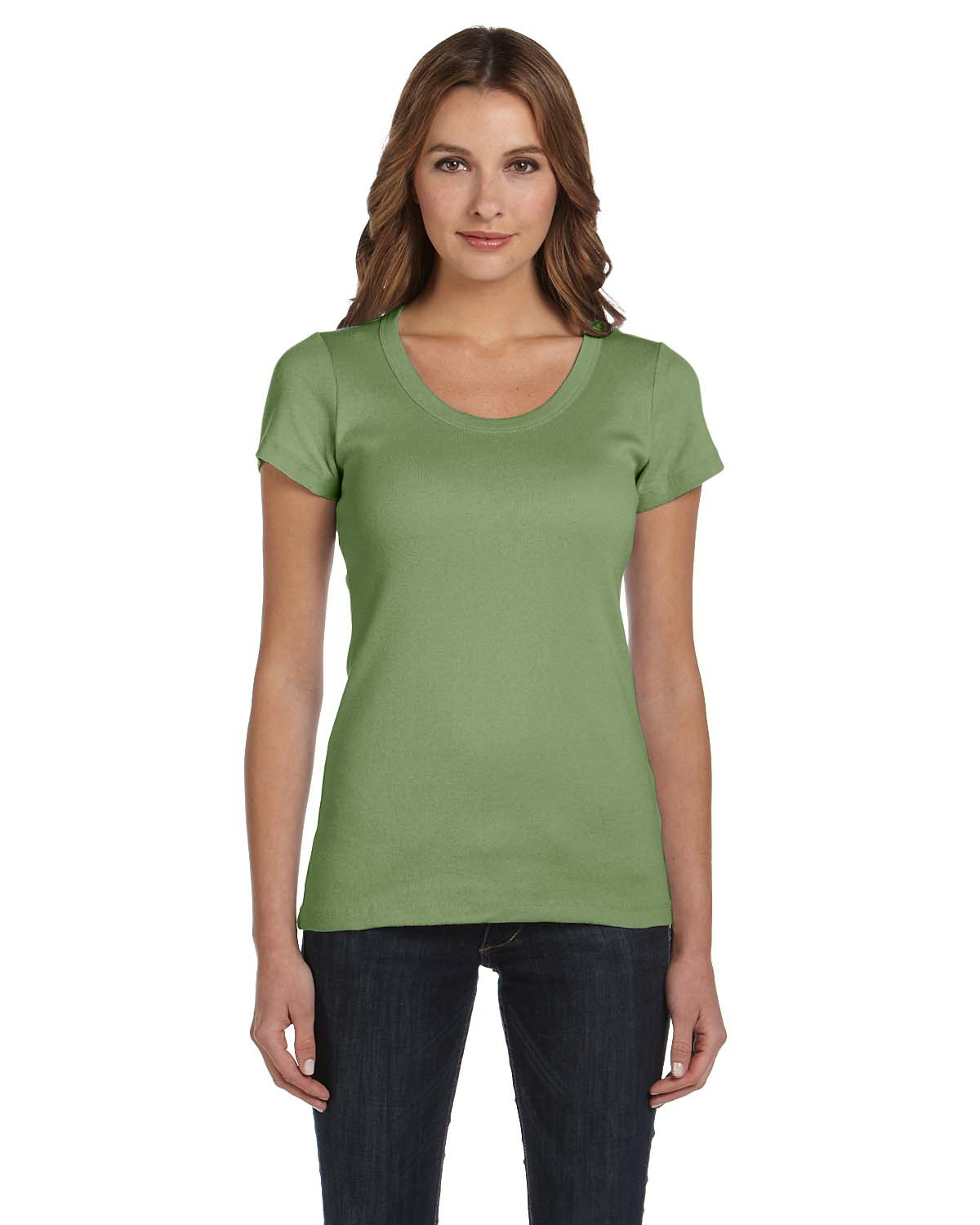 Bella B1003  Women's Baby Rib Scoop Neck T-Shirt