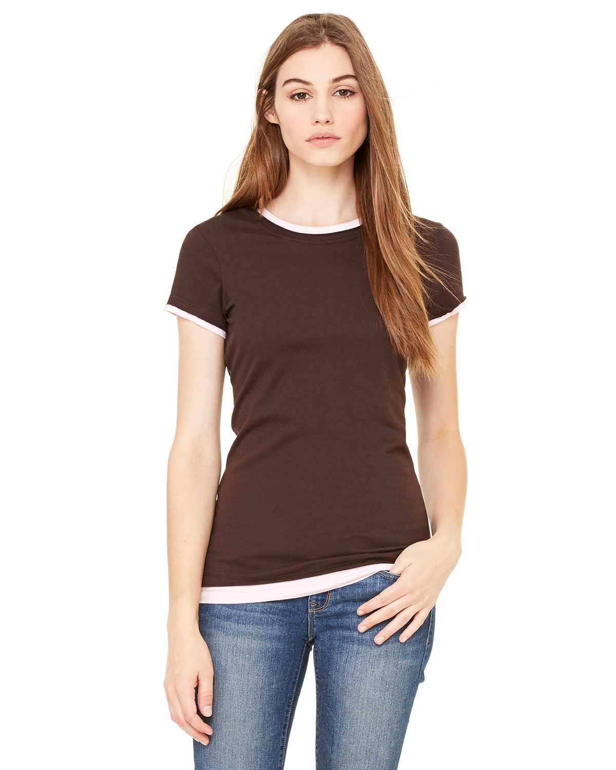 Bella B8102  Women's Sheer Jersey Longer Length 2-in-1 T-Shirt