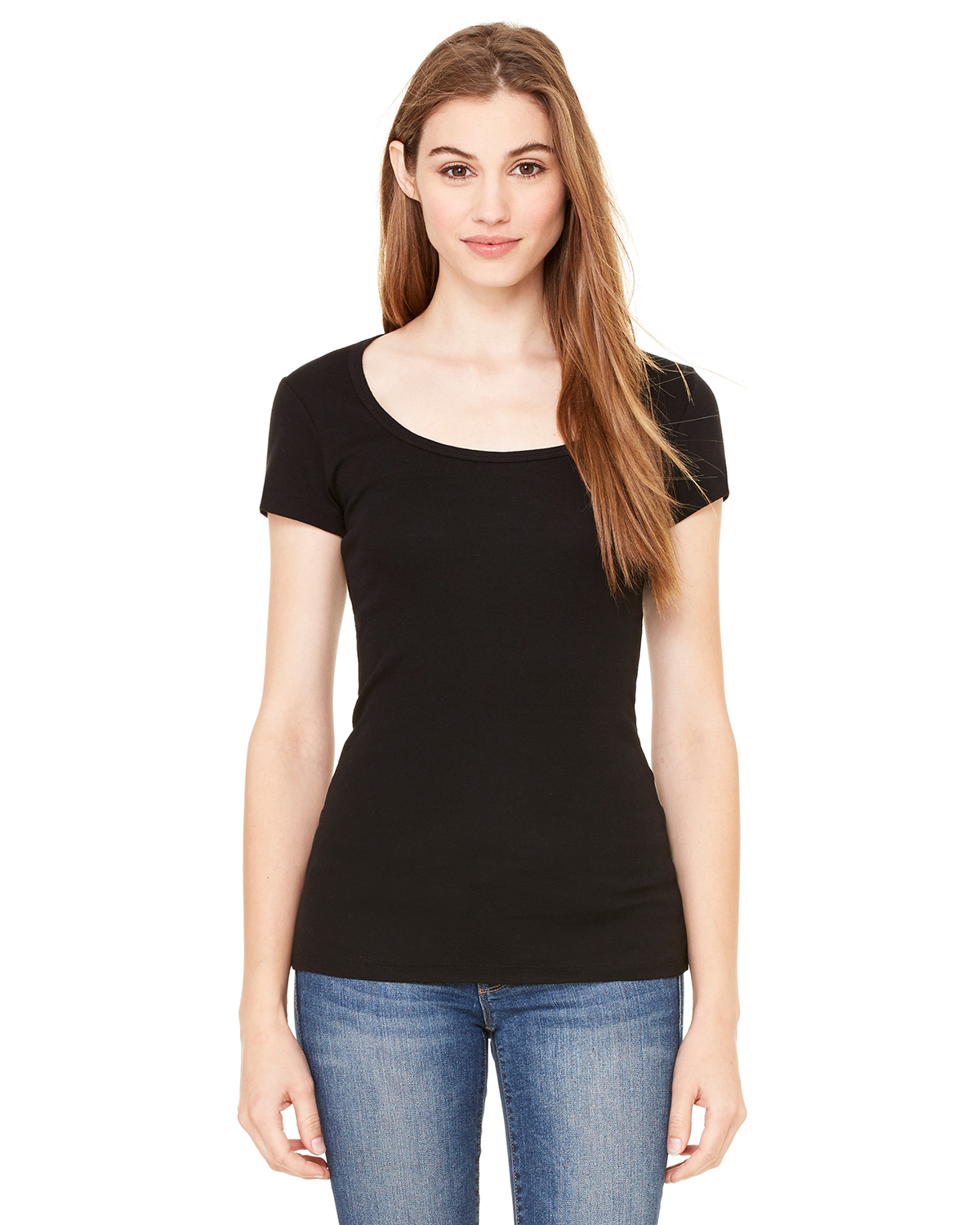 Bella B8703  Women's Sheer Rib Scoop Neck T