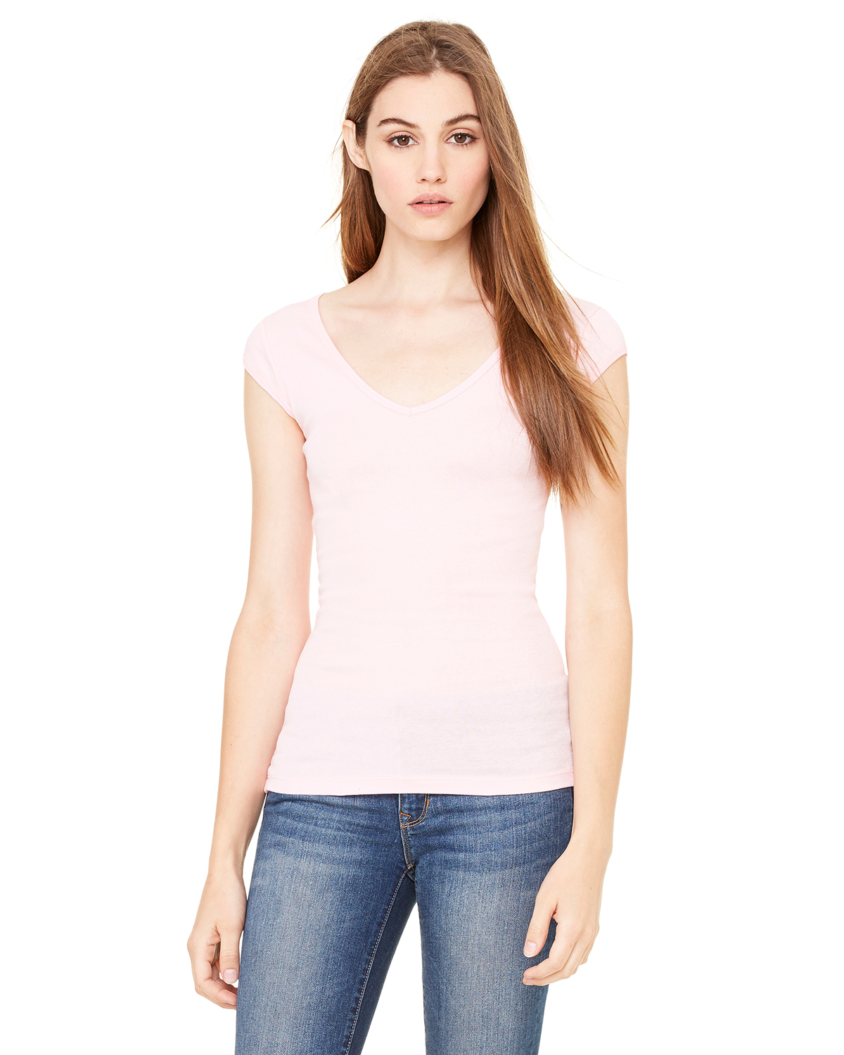Bella B8705  Women's Sheer Rib Cap Sleeve V-Neck T-Shirt