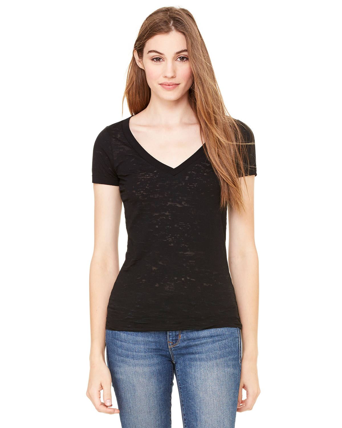 Bella - Ladies' Burnout V-Neck T-Shirt - 8605