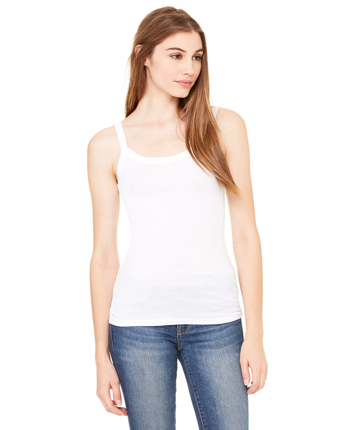 Canvas 8711 - Ladies' Sheer Mini-Rib Thin-Strap Tank