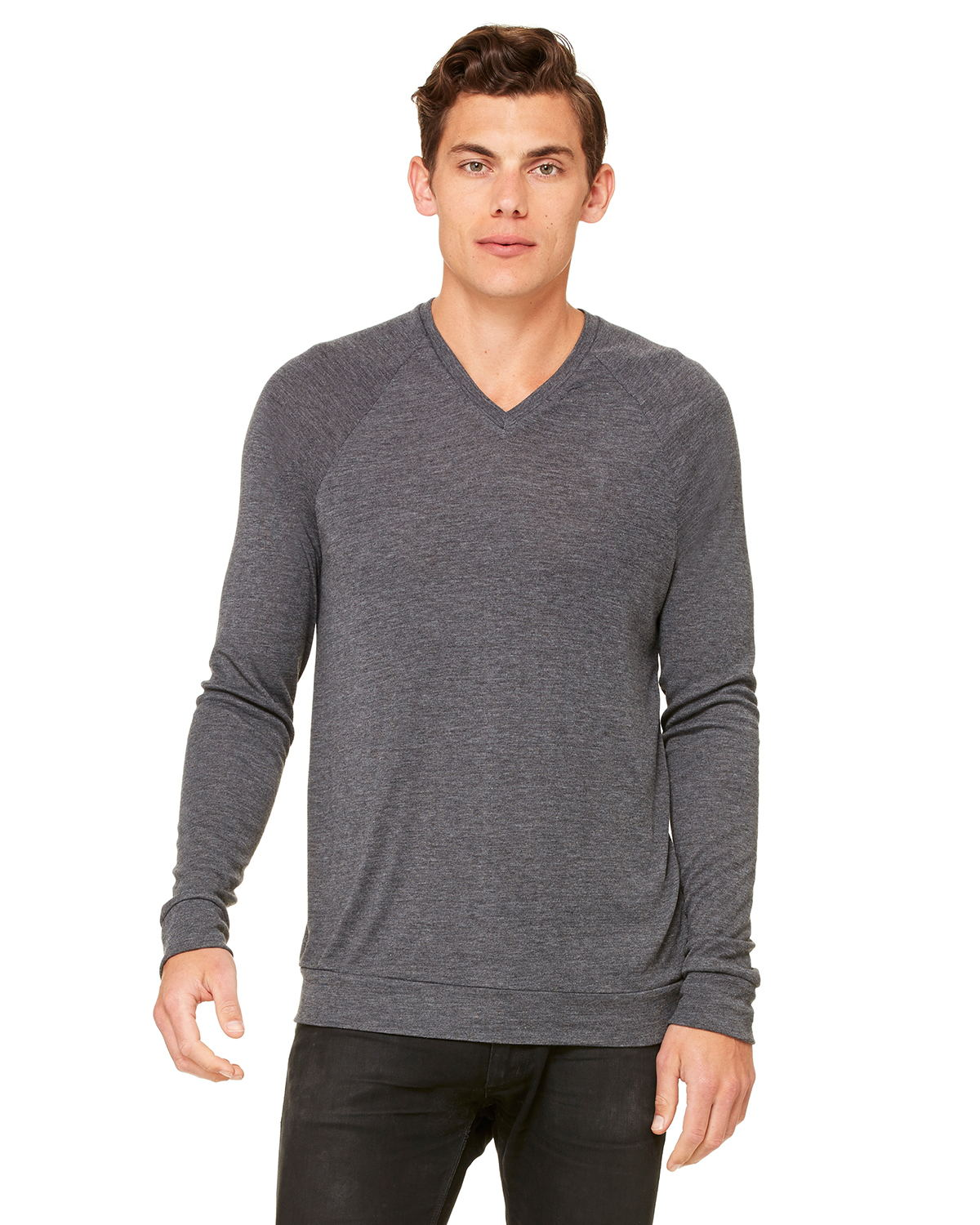 Canvas Unisex Pullover Raglan V-Neck Lightweight Sweater ...