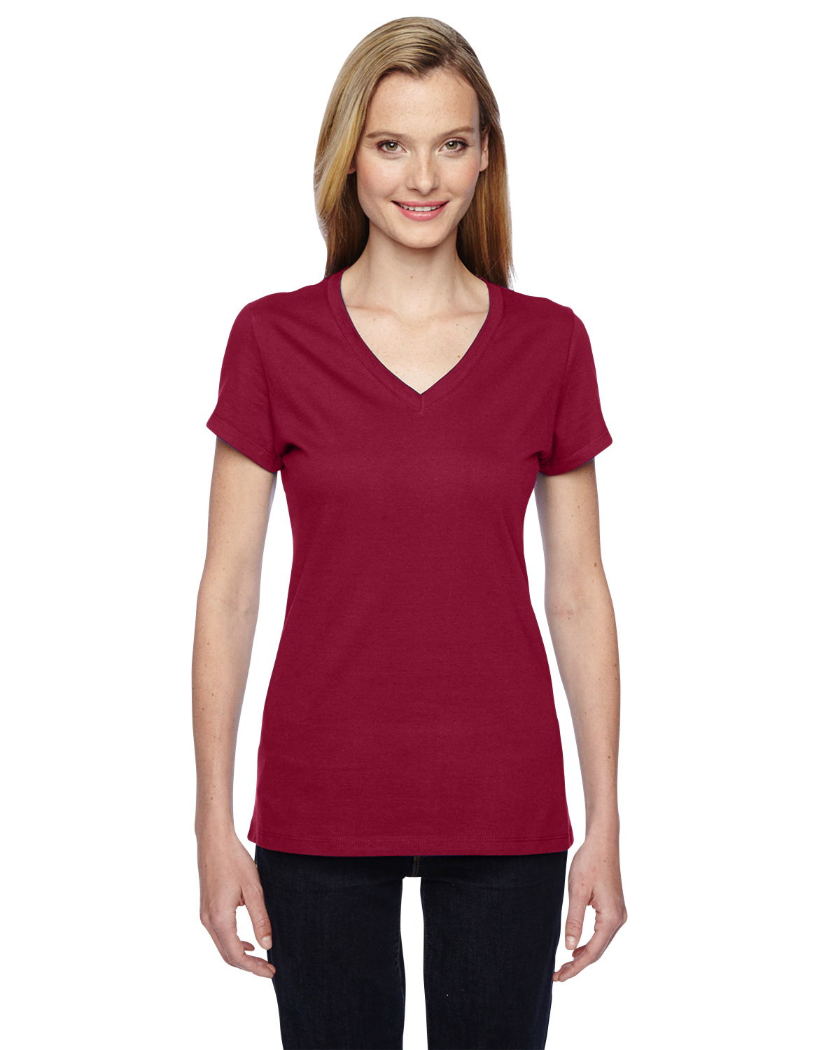 Fruit of the Loom SFJVR - Ladies' 4.7 oz. 100% Sofspun Cotton Jersey Junior V-Neck T-Shirt