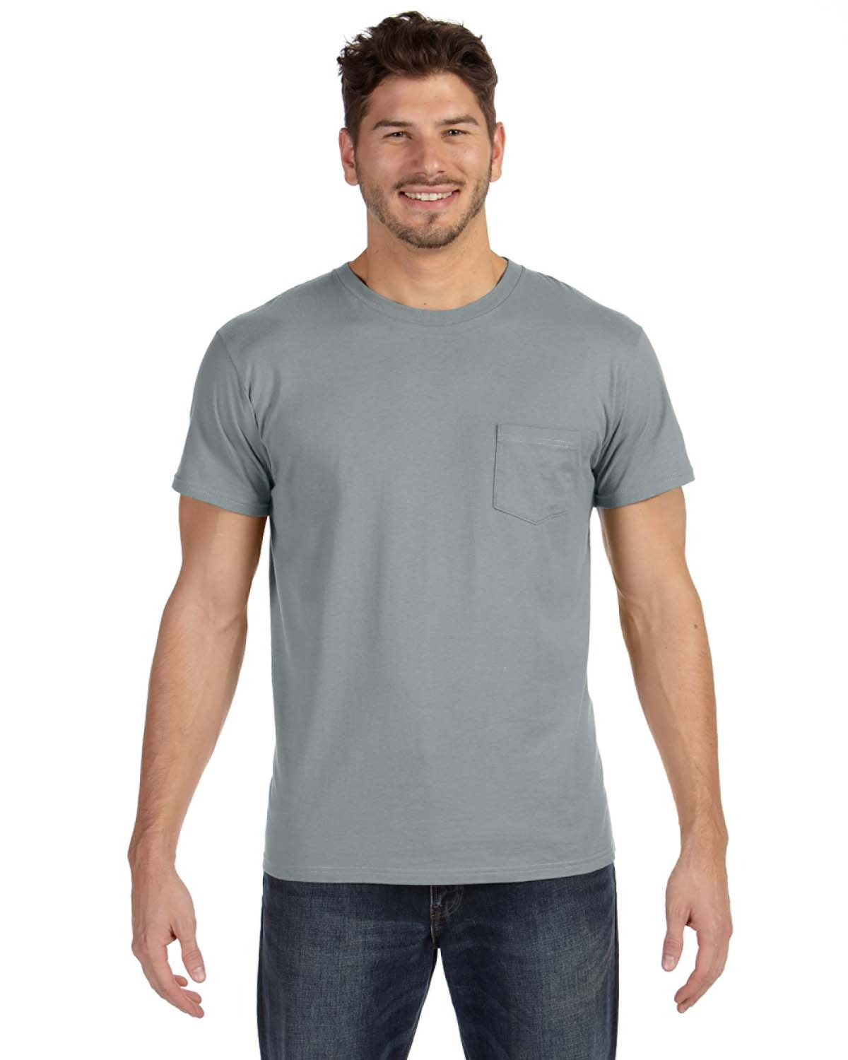 Hanes 498P - 4.5 oz., 100% Ringspun Cotton nano-T® T-Shirt with Pocket