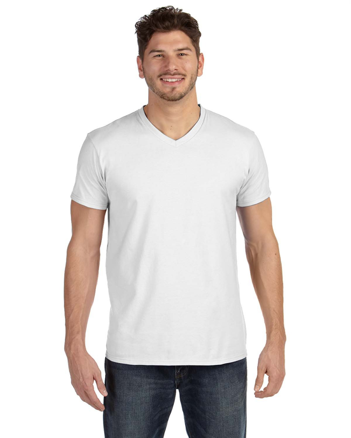 Hanes 498V - 4.5 oz., 100% Ringspun Cotton nano-T® V-Neck T-Shirt