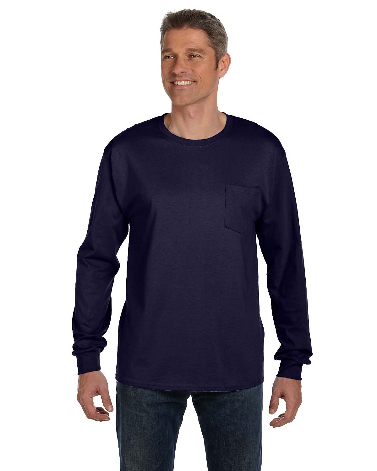Hanes 5596  Tagless 6.1 oz. Long Sleeve T-Shirt w/ a ...