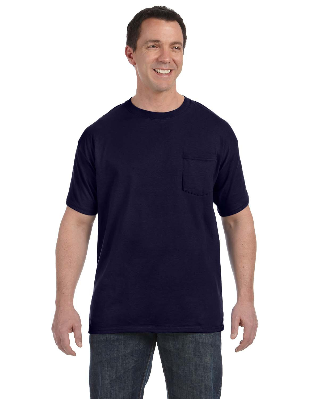 New Hanes Comfort Soft Tagless Cotton S//S Crew Neck Pocket Tee Shirt 3XL Navy