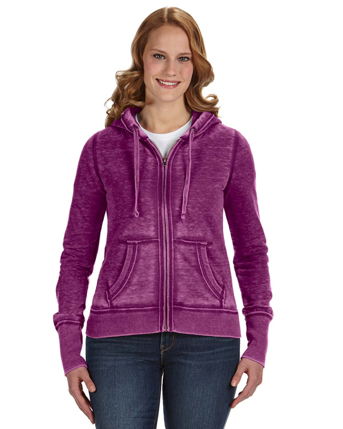 J America JA8913 - Ladies' Zen Full-Zip Fleece Hood
