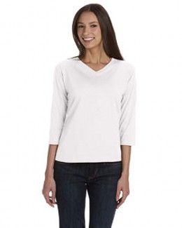 LAT 3577 - Ladie's Jersey V-neck Three Quarter Sleeve ...