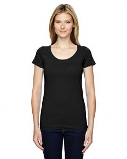 LAT 3604 - Junior's Fine Jersey Longer Length Deep Scoopneck T-Shirt