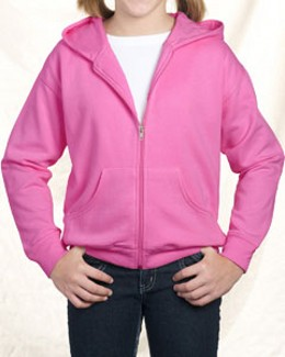 LAT Drop Ship - 2246 Youth Fleece Hooded Zip Front Sweatshirt With Pockets