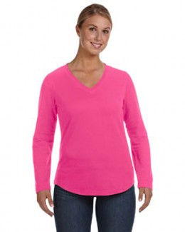 LAT Ladies' French Terry V-Neck - 3761